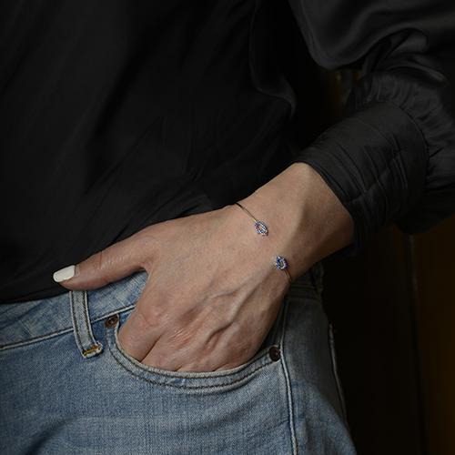 دستبند نقره BR1019-2،فروشگاه نقره اسپینل
